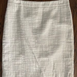 White and Silver Pencil Skirt